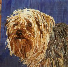 Glass mosaic of Yorky Sammy pet dog