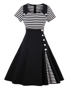 Vintage Striped Buttoned Pin Up Dress - BLACK L