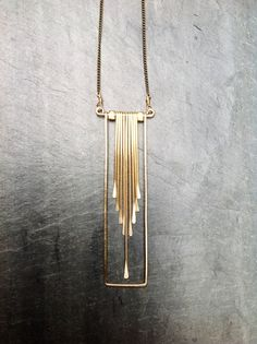 Gold Geometric Rectangle Cascade Necklace-By Loop Goldfill Necklace- Sterling Silver Necklace-Hammered-Portland Jewelry Art Deco Schmuck, Bijoux Art Deco, Bijoux Diy, Art Deco Jewelry, Metal Jewelry, Pendant Jewelry, Silver Jewelry, Silver Ring, Silver Earrings
