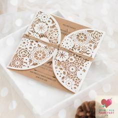 Pochette faire-part mariage - découpe fleurs