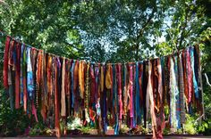 "Bohemian Hippy Garland 5 1/2  Feet Long Ribbon length from 9"" to 29"""" Photoraphy Backdrop, Birthday Party. Home Decor"