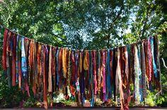 "Bohemian Hippy Garland 5 1/2  Feet Long Ribbon length from 9"" to 29"""" Photoraphy Backdrop, Birthday Party. Home Decor"