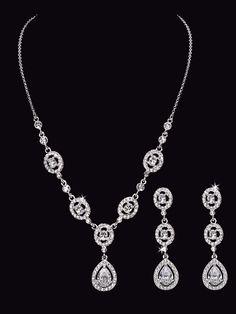 Rhodium Plated Rhinestone Wedding Jewelry Set - Affordable Elegance Bridal -