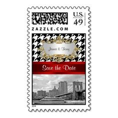 Brooklyn Bridge Blk Wht Houndstooth Save Date Postage Stamps