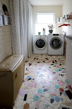 Mosaic floor but add some paint-your-own-pottery tiles too. by annabelle