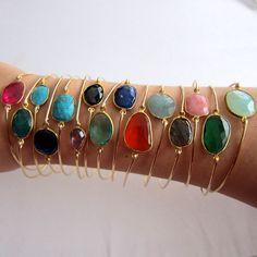 Aqua Green Seafoam Chalcedony Bracelet, Gemstone Jewelry, Sea Foam Chalcedony Bangle, 14k Gold Filled, Seafoam Bracelet, Chalcedony Jewelry. $39.95, via Etsy.