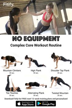 Tabata Workouts At Home, Core Workout Routine, Amrap Workout, Gym Workouts Women, Workout Routines For Women, Body Workout At Home, Gym Workout Tips, Home Exercise Routines, Plank Workout