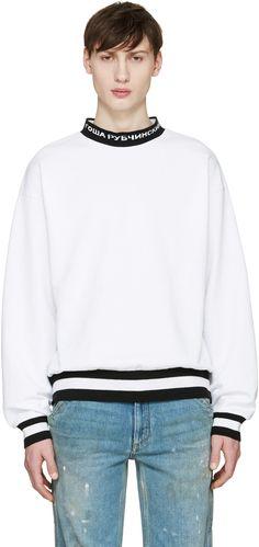 Gosha Rubchinskiy White Logo Collar Pullover