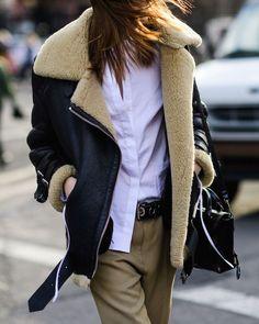 shearling jacket | wearable street style nyfw fall 2017 | the stripe blog