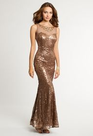 Sequin Dress with Beaded Illusion Neckline from Camille La Vie and Group USA
