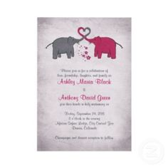 Shop Pink and Grey Elephant Bridal Shower Invitation created by wasootch. Elephant Theme, Grey Elephant, Elephant Wedding, Bridal Shower Invitations, Custom Invitations, Invitation Ideas, Bridal Shower Activities, Ashley Black, Gold Bridal Showers