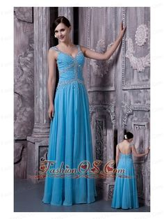 Discount Aqua Blue Evening Dress Empire Straps Chiffon Beading Floor-length  www.fashinos.com  Elegant is the only word to describe this dress. It's made in a traditional sheath style with a V-neckline bodice and two straps which are embellished with intricate beading. The fitted bodice is adorned with shaped beadwork throughout and several beaded bands crossed in the front, while an open back showcases your feminine quality. The skirt falls in soft pleats and folds to the floor.