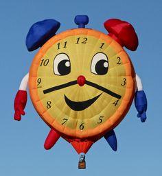 Clock hot air balloon at the Albuquerque Balloon Fiesta - photo from Rare Delights Magazine