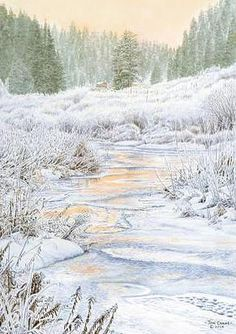 Jon Crane painted this snowy view of Castle Creek in the Black Hills, with the Mystic Chapel in the background. John Crane, Hill City, Watercolor Paintings, Watercolors, Custom Framing, Art Gallery, Fine Art Prints, Scene, Wall Art