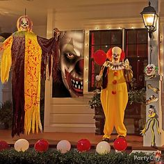 Creep 'em out with a couple of circus freaks! Make the perfect carnival setting with a border of red & white balloons, a large evil clown cutout & globe string lights!