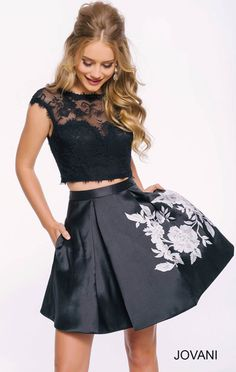 Black Lace Cap-Sleeves Two Piece Jovani 42289 Short Print Homecoming Dresses 2016