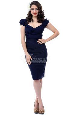 Vintage inspired Column/Sheath Knitwear Knee Length Bridesmaid Dress With Sleeves(BDBB0929)
