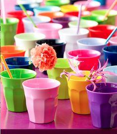 colorful melamin mugs from Rice Denmark...