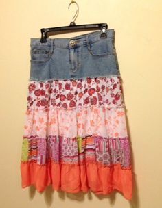 Vintage Boho Skirt, Candies denim skirt, prairie skirt