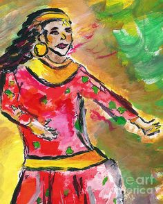 A mixed media painting of a Nepali dancer. http://fineartamerica.com/featured/light-in-motion-elizabeth-briggs.html#comment10234386