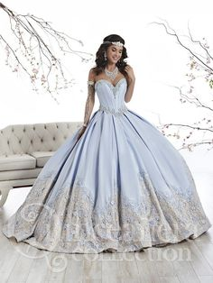 The Quinceanera Collection offers elegant quinceanera dresses, 15 dresses, and vestidos de quinceanera! These pretty quince dresses are perfect for your party! Champagne Quinceanera Dresses, Robes Quinceanera, Pretty Quinceanera Dresses, Cinderella Quinceanera Dress, Quinceanera Decorations, Xv Dresses, Quince Dresses, Fashion Dresses, Dress Wedding