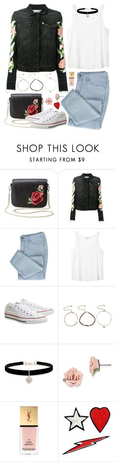"""Rose Embroidery 🌹"" by tegan-nottle ❤ liked on Polyvore featuring Charlotte Russe, Off-White, Monki, Topshop, GUESS, Betsey Johnson, 1928, Yves Saint Laurent and Racil"