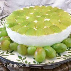 Tarta de queso con uvas Honeydew, Empanadas, Sin Gluten, Flan, Cheesecakes, Sweet Recipes, Delicious Desserts, Cake Decorating, Pudding