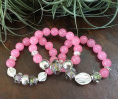 Pink Malay Jade Gemstone Triple Stretch by JewelrybyKellyWalker