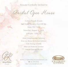 KATY & AREA BRIDES! Bridal Open House this SATURDAY! 8/6  1-5pm Hope to see you there!