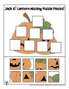 Halloween Missing Puzzle Pieces Games | Woo! Jr. Kids Activities : Children's Publishing Puzzle Pieces Games, Printable Puzzles For Kids, Color Puzzle, Crossword Puzzles, Jack O, Brain Teasers, Preschool Activities, Jr, Lanterns