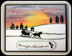 handmade Christmas/winter card ... gorgeous sunset sky ... edgelits dies in black along snowbank lines edged with Silver Dazzling Details ... Stampin' Up!