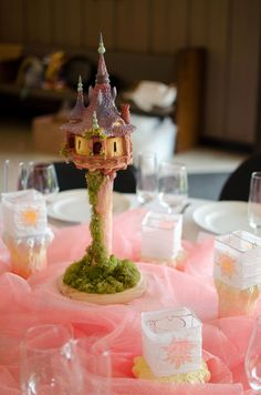 Tangled Tower Wedding Centerpiece - Each table based around a different Disney land? @Jessi Parrett Reyes too late to change?