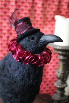 Needle Felted OOAK Steampunk Raven by OkieFolky on Etsy