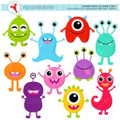 Monsters Clipart Set - clip art set of cute monsters, monsters, characters, party - personal use, sm Monster Party, Godzilla Wallpaper, Planner Stickers, Monster Clipart, Party Banner, Mothers Day Crafts For Kids, Cute Monsters, Clip Art, Diy Crafts