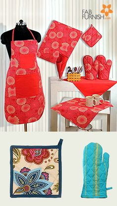 Get dressed up in your kitchen attire!  Grab these cotton #aprons & #potholders for a smart cooking experience.  #DiwaliDecor and #FabFurnish