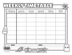 Color in and customize your own printable October weekly timetable! Adobe Acrobat, Back To School, Computers, October, Parenting, Printable, Goals, Recipe, Tv