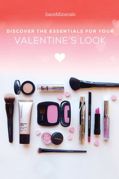 Love is in the air, and it calls for a romantic, soft pink makeup look with a kiss-me, bright lip. Look beautiful this Valentine's Day with  bareMinerals makeup picks: Complexion Rescue, 5-in-1 BB eyeshadow in Blushing Pink, Frolic eyeshadow, Lash Domination mascara, Ready Blush in Faux Pas, Marvelous Moxie Lipliner in Jazzed, Lipstick in Never Say Never and Lipgloss in Hypnotist.