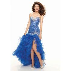 Dropped Sweetheart Beading Ruffled Split Front Organza Long Blue Prom Dress