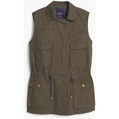 Violeta BY MANGO Military-Style Vest (180 PLN) ❤ liked on Polyvore featuring outerwear, vests, casacos, jackets, military vests, brown waistcoat, cotton vest, brown vest and vest waistcoat