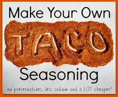 Make Your Own Taco Seasoning…No preservatives, less sodium and a LOT cheaper!