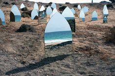 """Installation by artist Kader Attia, """"Holy Land"""". Holy Land was installed and presented at one of the beaches of Fuerteventura (Canary Islands) where some of the thousands of African """"illegal"""". Instalation Art, Mirror Art, Holy Land, Environmental Art, Mark Rothko, Contemporary Art, Images, Sculpture, Landscape"""