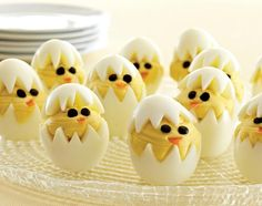 We just love the little deviled chicks our Test Kitchens created! To make them, use our V-Shaped Cutter on cool, hard-cooked eggs and gently remove the yolk. Pipe deviled egg filling into the bottom half of the egg, then cap with the egg-white tops. Make chickadee eyes and beaks out of black olive and carrot pieces.