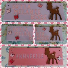 Items similar to Deer woodland themed nursery personalised children's bedroom door Name plaque. Any Name/Names, any colours. Deer, butterfly, Bambi, kids on Etsy Door Plaques, Name Plaques, Cardboard Letters, Bedroom Doors, Hanging Signs, Home Decor Items, Baby Ideas, Deer, Handmade Items