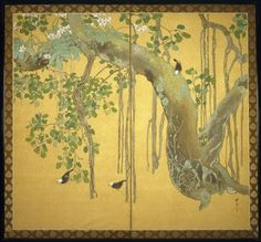 Taisei Minakami (1877-1951). Birds, Orchids and Banyan Tree, ca. 1920. Two-fold screen; ink and color on gold-sprinkled silk, brocade mount, 67 1/2 x 72 7/8 in. (171.5 x 185.1 cm). Brooklyn Museum, Gift from the Collection of Liza Hyde, 1994.193. Creative Commons-BY