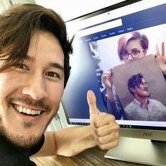 "sokoistrying: "" the closest I'll ever get to having a photo with @markiplier  broke artist life, amirite? "" Great work! Here's a pic of me with your pic of me! Thanks so much for taking the time to..."