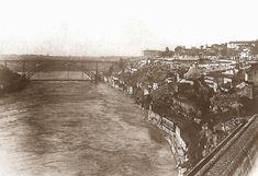 Nas duas primeiras imagens que se seguem, vemos o efeito da grande cheia do Douro ocorrida em 1860. Clique nas imagens para as ampliar ...