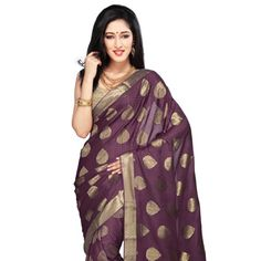 Violet Pure Mysore Silk Saree with Blouse