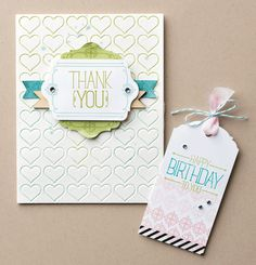 Because You Care ;  Chalk talk framelits ; Darice Hearts embossing folder ; Thank you ; Tag