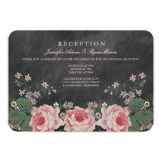 Rose Wedding Invitations VINTAGE CHALKBOARD WEDDING RECEPTION CARDS
