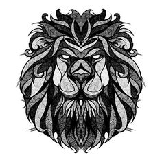 Lion Line Art. this lion has many lines with different thicknesses in the mane. It seems to be a thick mane with interesting lines on its face. Mrs C